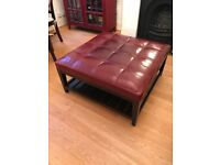 Ottoman, leather top in cognac. Excellent condition.