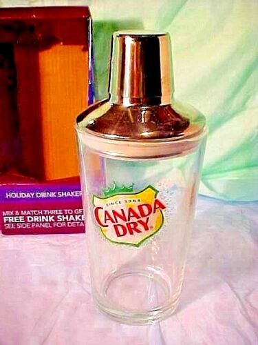 DRINK SHAKER CANADA DRY Glass & Stainless Steel Barware Cocktail Martini Bar NEW
