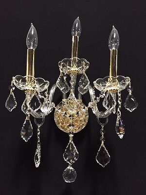 """Leeway SALE Provence Italian 3 Light Gold & Crystal Candle Wall Sconce 13""""x18"""