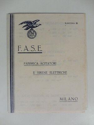F.A.S.E. Fabbrica agitatori e sirene elettriche. Pieghevole pubblicitario