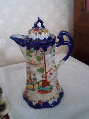 GORGEOUS VINTAGE ORIENTAL BLUE HAND PAINTED COFFEE/TEA/CHOC POT WITH LID -GEISHA