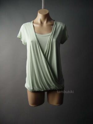 Light Mint Green (Light Sage Mint Green Crossover Wrap Front Basic Top Shirt 296 mvp Blouse S M)