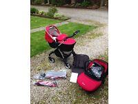 Silvercross Pram / car seat / pushchair Wayfarer carrycot chilli red mothercare