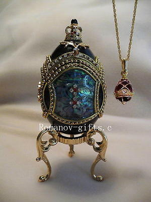 Empress Anastasia Phantom of the Opera Mother of Pearl Russian Egg & Necklace