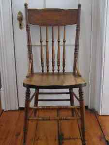 Antique Early Quebec Oak Press Back Chair, Original, 1900's Kitchener / Waterloo Kitchener Area image 1