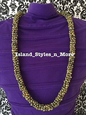 Hawaii Wedding MONGO Shell Kukui Nut Lei Necklace Jewelry Graduation Luau GREEN
