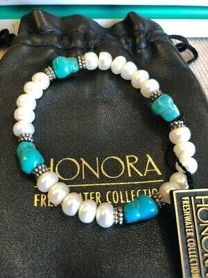 Honora freshwater button pearl stretch bracelet with turquoise and sterling bead Freshwater Button Pearl Stretch Bracelet