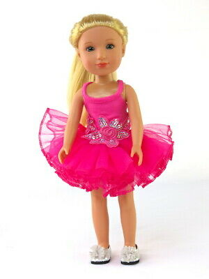 - Hot Pink Ballerina Tutu Dress Fits Wellie Wisher 14.5