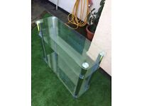 Heavy glass and metal stand with shelves for storage, £5