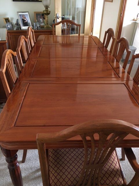 Chineese Rose Wood Diningroom Table 6 Chairs 2 Carvers