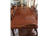 Chineese Rose Wood Diningroom Table, 6 Chairs, 2 Carvers