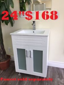 "BATHROOM VANITY 24""  $168. BATHTUB. SHOWER PANEL $186"