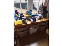 Big selection of toys for 2 - 4 yrs old boy, with toy cabinet and containers sold all together
