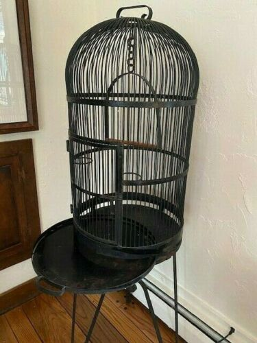 VINTAGE WROUGHT IRON Large Domed Bird Cage  - Local Pickup/Buyer Ship