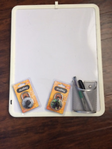 White Board and Two Brand New Combination Locks