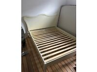 King size bed frame beige / white (no matress)