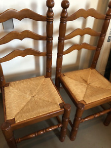 Solid Ladder Back Dining Chairs with Rush Seats