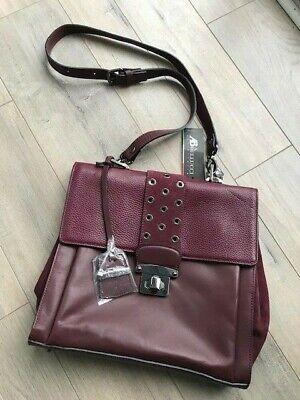 NWT ($295) A. BELLUCCI Crossbody Red Wine Maroon Leather Italian Handbag Purse