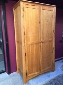 Solid oak wardrobe with built in drawers