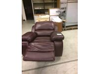 """Red """"leather"""" material electric recliner chairs relaxing/lounge/study/TV watching £45 or 2 for £80"""
