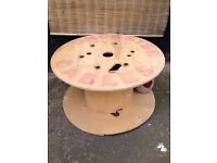 Wooden *DONCASTER CABLE REEL* Table Stool Recycling Project DIY Shabby Chic Upcycle