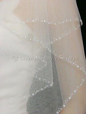 2T White Elbow Length Beaded Edge Bridal Wedding