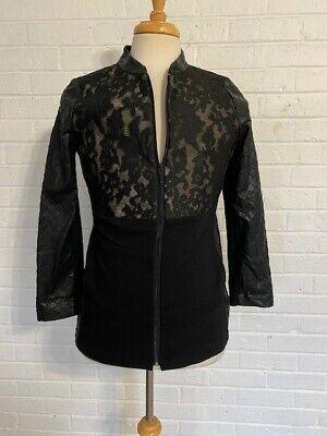 CHICO'S Jacket Blazer Women's Size 0 Black Feaux Leather and Lace.