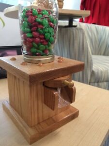 Candy Dispenser Machine - Handcrafted With Oak Wood and Mason Jar