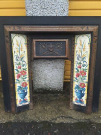 Vintage Cast Iron Fire Surround with floral pattern tiles