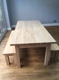 Table solid oak hand made with benches