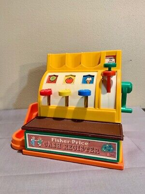 Fisher Price Toy Cash Register With 6 Coins Tested WORKS - Vintage