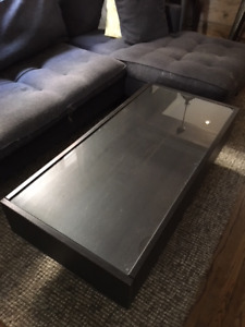 IKEA Coffee Table with Glass Top and Storage