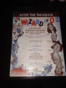 Vintage 1939 Wizard of Oz Over The Rainbow Sheet Music