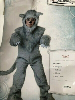 Big Bad Wolf Halloween Costume Grey (Gray Wolf Kids 4-5 Toddler Halloween Costume Big Bad Full Body Plush Animal 4)