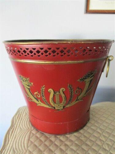 Rare Antique Hand Painted Italian Lyre Maroon Tole Waste Trash Basket Bin