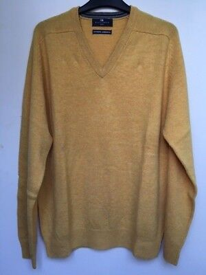 """Men`s New Marks & Spencer Pure Lambswool Jumper Size Large 42"""" Yellow Sweater"""