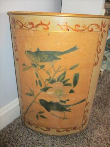 Antique Hand Painted with Audubon Birds Print Green Tole Waste Trash Basket Bin