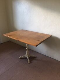 WOODEN TABLE WITH DECRETIVE PEDESTAL