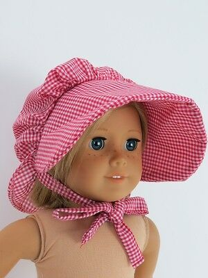 Checked Pioneer Bonnet Hat for American Girl Kirsten Doll Clothes Reproduction](Pioneer Clothes For Girls)