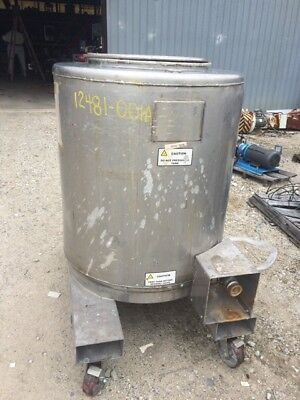 12481-001 Used Approximately 165 Gallon Vertical Stainless Steel Tank.