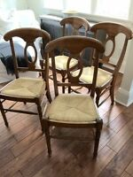 SLAT BACK/RATTAN SEAT WOOD CHAIRS