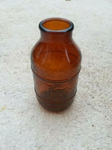 VINTAGE OLD JAX BEER BARREL SHAPED AMBER BROWN EMBOSSED BOTTLE JACKSON BREWING