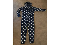 Mens Medium Onesie navy Blue Stars M