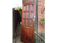 Hardwood glazed panel front door 192 x 75.5cm