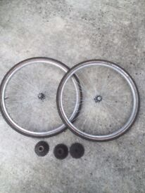 "BICYCLE WHEELS - PAIR 26"" WITH TYRES,TUBES & COGS"