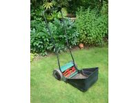 Manual Qualcast lawn mower for garden or allotment. with grass collector box