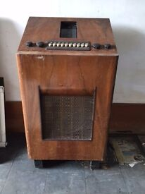 Old valve radio in wooden case, Bush make.