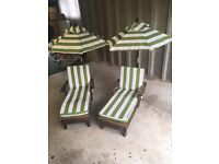 Children's sun loungers with parasols