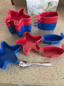 Cute Kids Bowls (Starfish and Whales) and Utensils