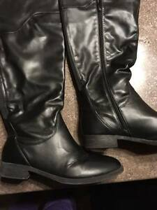 Tall wide calf black boots